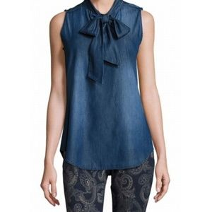 Nanette Lepore Sleeveless Tie-Front Denim Top